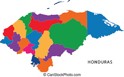 Republic of Honduras - Map of the Republic of Honduras with...