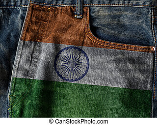 Republic of India flag On Jeans Denim Texture with pride word. The concept of India national flag on denim Jeans background. India Textile Industry Or Politics Concept.