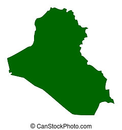 Republic of Iraq map isolated on white background.