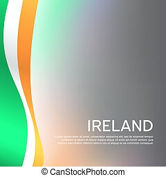 Republic of ireland abstract wavy flag. Creative shining background for design of patriotic holiday cards. National irish poster. Cover, banner in national colors of ireland. Vector illustration