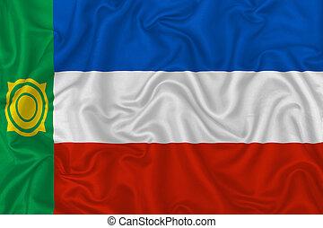 Republic of Khakassia flag on wavy silk textile fabric ...