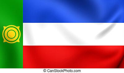 Republic of Khakassia Flag, Russia. Close Up.