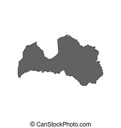 Republic of Latvia map silhouette on the white background. ...