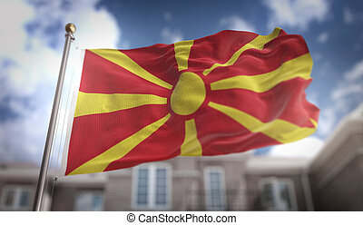 Republic of Macedonia Flag 3D Rendering on Blue Sky Building Background
