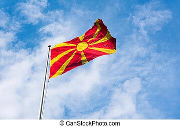 Republic of Macedonia flag waving in the sky