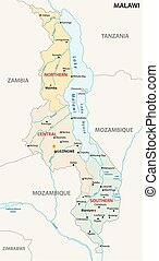 republic of malawi administrativ and political map