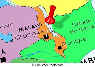 Republic of Malawi, Lilongwe - capital city, pinned on political map
