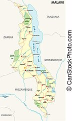 republic of malawi road and national park vector map