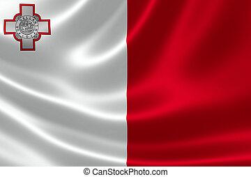 Republic of Malta's National Flag - 3D rendering of the flag...