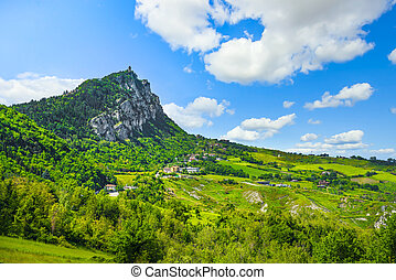 Republic of San Marino, medieval Montale tower on top ofr the mount Titano. Europe.