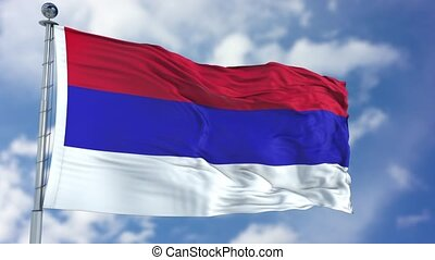 Republic of Srpska Flag in a Blue Sky