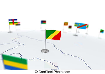 Republic of the Congo flag. Country flag with chrome...