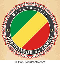 Republic of the Congo flag - Vintage label cards of Republic...