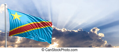 Republic of the Congo flag on blue sky. 3d illustration -...