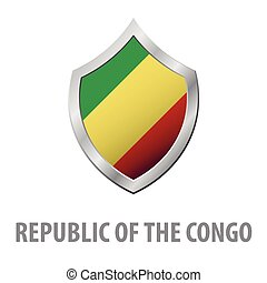 Republic of the Congo flag on metal shiny shield vector illustration.