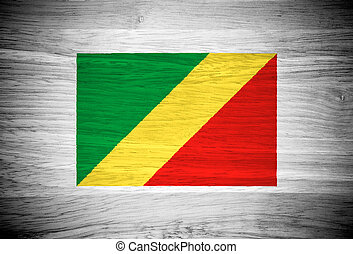 Republic of the Congo flag on wood texture