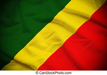 Republic of the Congo Flag - Wavy and rippled national flag...