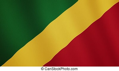 Republic of the Congo flag waving animation. Full Screen. Symbol of the country.
