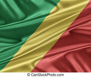 Republic of the Congo flag with a glossy silk texture. -...