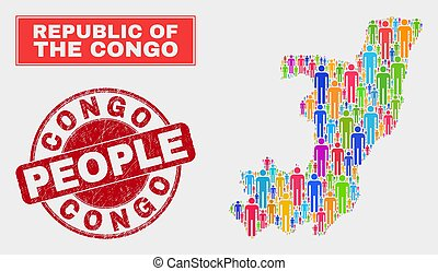 Republic of the Congo Map Population People and Corroded Seal