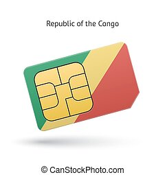 Republic of the Congo mobile phone sim card with flag.