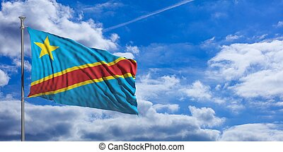 Republic of the Congo waving flag on blue sky. 3d illustration