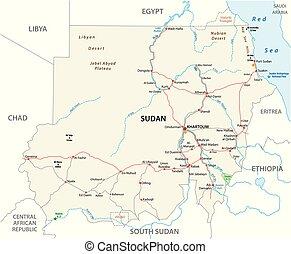 Republic of the Sudan road vector map