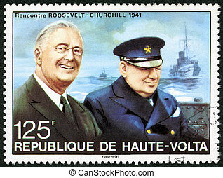 REPUBLIC OF UPPER VOLTA, BURKINA FASO - CIRCA 1975: A stamp printed in Republic of Upper Volta shows portrait of Churchill meeting with Roosevelt, 1941, circa 1975