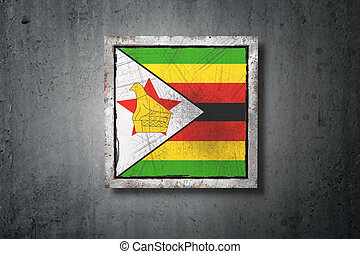 Republic of Zimbabwe flag in concrete wall - 3d rendering of...