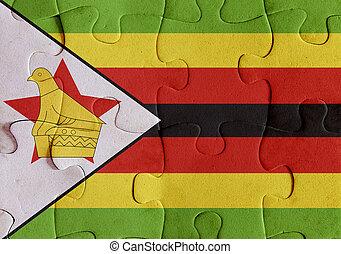 Republic of Zimbabwe flag puzzle - Illustration of a flag of...