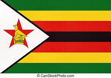 Republic of Zimbabwe national fabric flag, textile ...