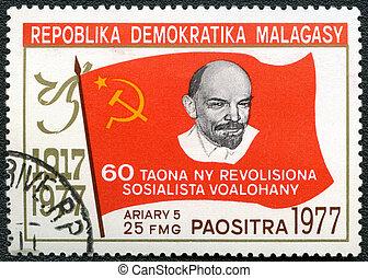 republica, democratica, malagasy, -, circa, 1977:, een, postzegel, bedrukt, in, malagasy, (madagaskar), optredens, lenin, toegewijd, 60, jaren, van, oktober, revolutie, circa, 1977