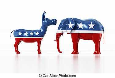 Republican and Democrat party political symbols elephant and donkey. 3D illustration