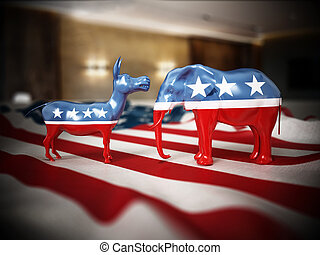 Republican and Democrat party political symbols elephant and donkey on American flag. 3D illustration