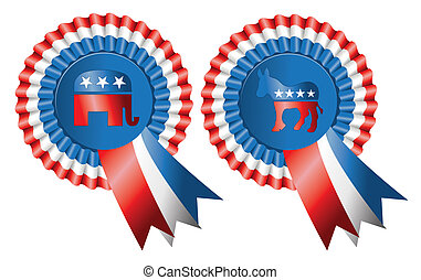 Republican and Democratic Party Buttons - Ribbon style...