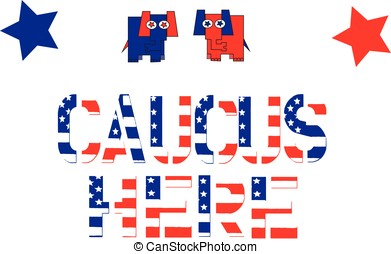 Republican Caucus Sign - Republican Party mascot elephant in...