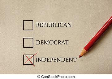 Republican Democrat and Independent voting form