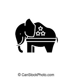 Republican elephant black icon, vector sign on isolated background. Republican elephant concept symbol, illustration