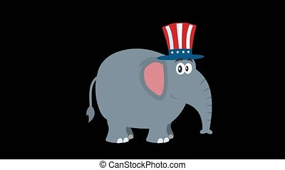 Republican Elephant Cartoon Character With Uncle Sam Hat. 4K Animation Video Motion Graphics Without Background