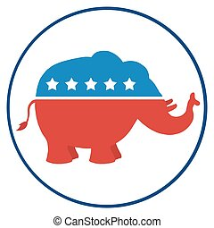Republican Elephant Circle Label
