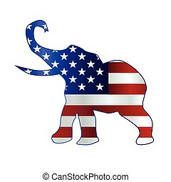 The United States of American Republican party elephant flag over a white background