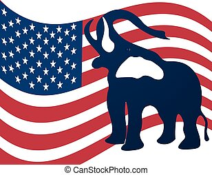 Republican elephant in the background of the American flag. Republican victory in US elections. illustration