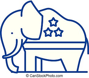 Republican elephant line icon concept. Republican elephant flat  vector symbol, sign, outline illustration.