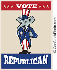 Illustration of a republican elephant mascot of the republican party wearing hat and suit thumbs done in cartoon style with words vote republican