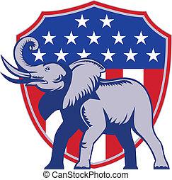 Republican Elephant Mascot USA Flag