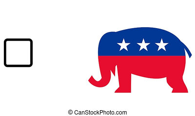 republican elephant mascot voting - 2d video footage...
