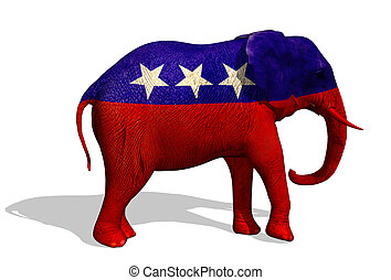 Republican Elephant - 3D render of a painted elephant. The...
