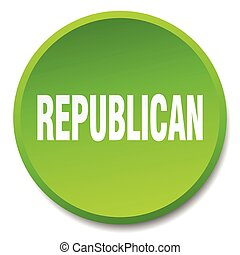 republican green round flat isolated push button