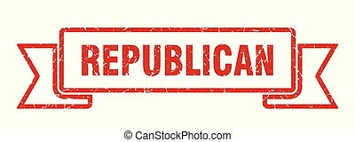 republican grunge ribbon. republican sign. republican banner