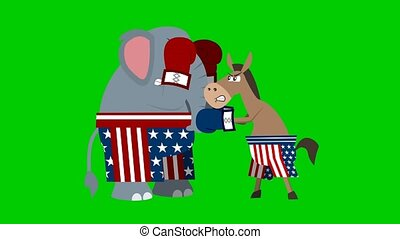 Republican ?lephant ?nd Democrat Donkey Is Boxing. 4K Animation Video Motion Graphics On Green Screen Background
